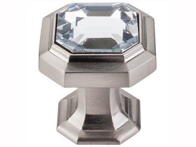 Top Knobs TK390BSN Chareau Collection 1-1/8'' Crystal Emerald Knob, Brushed Satin Nickel