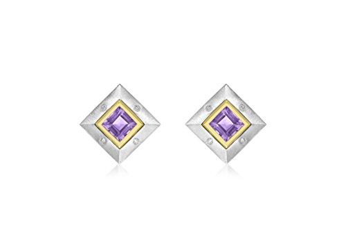 9ct or 2couleurs Diamant et Améthyste Boucles d'oreilles clous carré