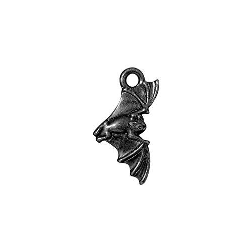 (TierraCast Charm, Bat, 20mm, Gunmetal/Black Finish Pewter, 4-Pack)