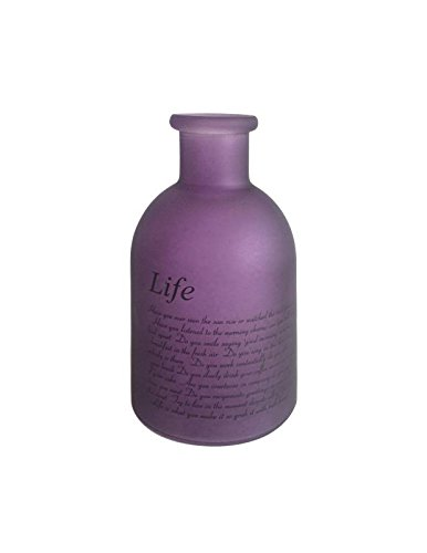 Flowersea Decorative Frosted Glass Bottle Bud Vases for flowers, Modern Design with Life Poem (Laurel, Purple) -