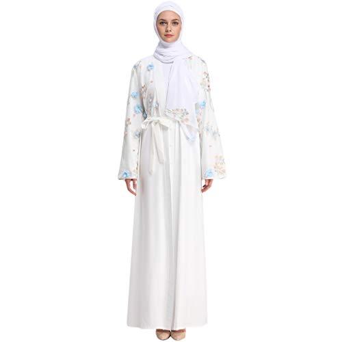 HYIRI Women's Elegant Abaya Cardigan Muslim Dubai Robe Gown White -