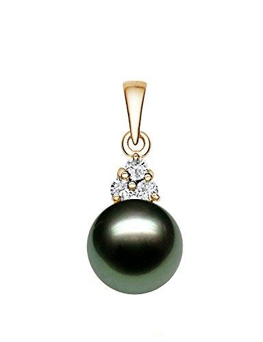 14K Or jaune noir de qualité AAA perle de culture de Tahiti Pearl pendentif avec diamants