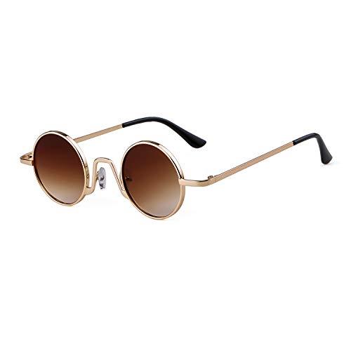 borde Vintage sol de Style Redondo ovaladas Hombres Oro Marco Street Eyewear Lente Gafas Marrón fino Mujeres metal de 1 con ADEWU Ixgfwzn