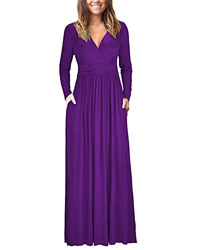 OUGES Womens Long Sleeve V-Neck Wrap Waist Maxi Dress(Purple,M) -