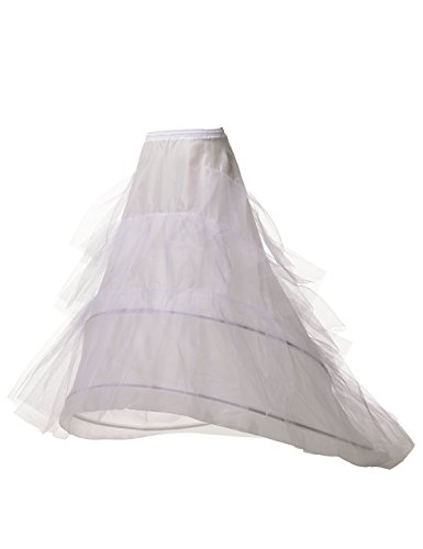 Remedios 2 Hoop 4 Layers Bridal Petticoat Crinoline Half Slip w Court Train,White,S-M (Court Womens Skirt)