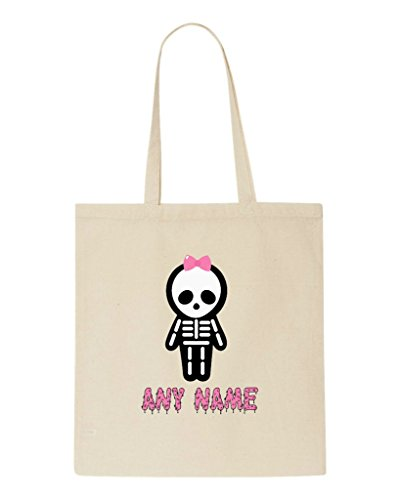 Skeleton Name Any Halloween Bag Full Hair With Beige Personalised Custom Bow Shopper Tote 1W6fAqw