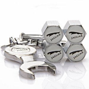 NEW Jaguar Tire Valve Caps set of 4 with Bonus Wrench Keychain Key Ring - White