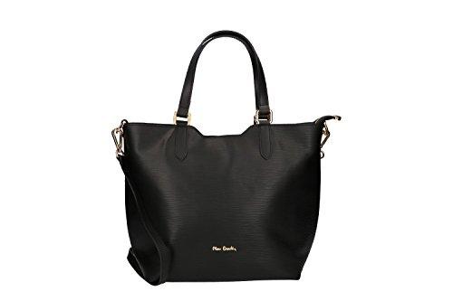 Bolsa mujer de mano bandolera PIERRE CARDIN negro cuero Made in Italy VN575