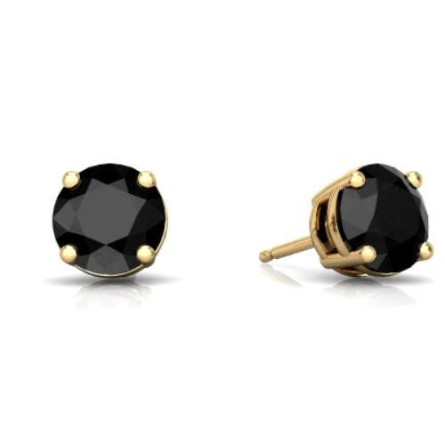 Natural Black Onyx Round Stud Earrings 14Kt Yellow Gold & Sterling Silver
