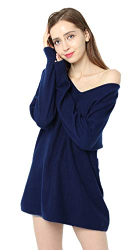 (Ailaile Autumn Winter New 100% Cashmere Sweater Women V-Neck Loose Pullover Female Sexy Wool Tops (Medium, Dark Blue))