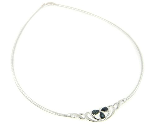 Genuine Sapphire Heart Prom or Wedding Bridal Omega Necklace 16'' Sterling Silver Formal Choker by Silver Insanity