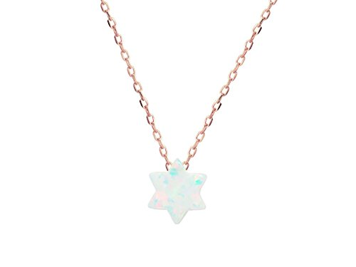 Fronay Co .925 Sterling Silver Miniature Created Opal Star of David Necklace, 15