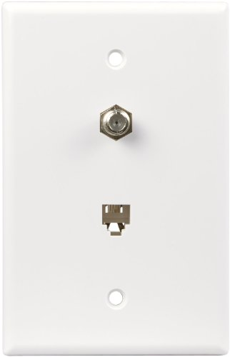 EATON Wiring 3536-4W-L Flush Mount Mid Size Wall Plate with Telephone Jack and Coaxial 4-Conductor, White