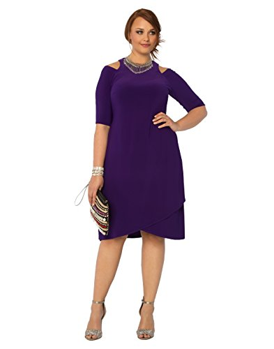 Kiyonna Women's Plus Size Racy Faux Wrap Dress 3X Violet