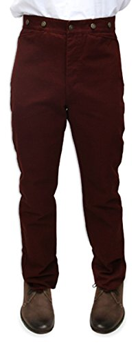 Historical Emporium Men's High Waist Classic Canvas Work Trousers 30 Crimson -