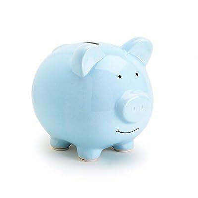 Tiny Ideas Ceramic Piggy Bank, Makes a Perfect Unique Gift, Nursery Décor, Keepsake, or Savings Piggy Bank for Kids, Blue : Baby