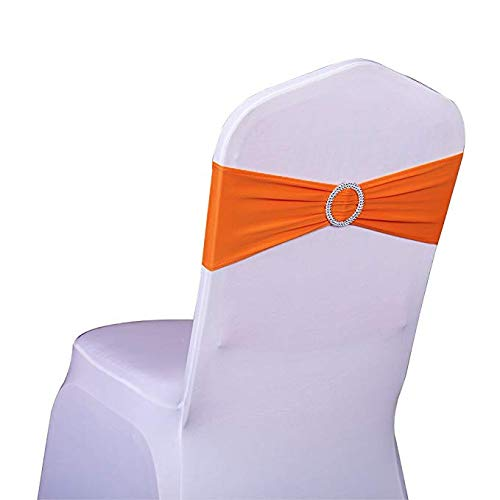 Orange Slider - SINSSOWL Pack 50PCS Elastic Slider Chair Sashes Spandex Chair Cover Band Bows Wedding Decoration-Orange