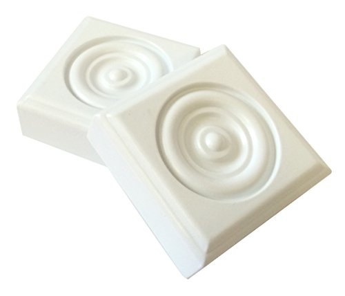 2 Piece Minute Molding Classic Plastic Block Rosette (2-3/4 in.) for Interior Doors and Windows (83051) (Rosette Molding Trim)