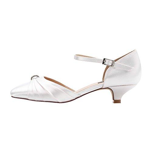 Image of ERIJUNOR Women Comfort Low Kitten Heel Buckle Ankle Strap Dyeable Satin Bridal Wedding Shoes