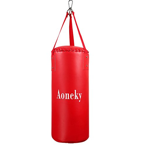 Aoneky Punching Bag for Kids – Filled Boxing Bag for MMA and Kickboxing Training, Heavy Duty Brazing Leather, Strong Hanging Braid Strap for Ceiling, Youth Workout Activity for Children