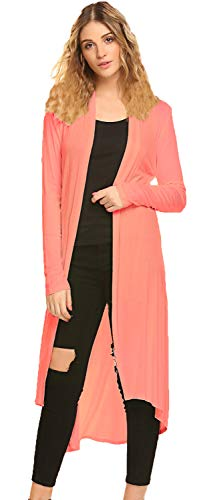 POGTMM Women's Long Open Front Drape Lightweight Duster High Low Hem Maxi Long Sleeve Cardigan with Pocket(S-3XL) (Coral, US L(12-14)) ()