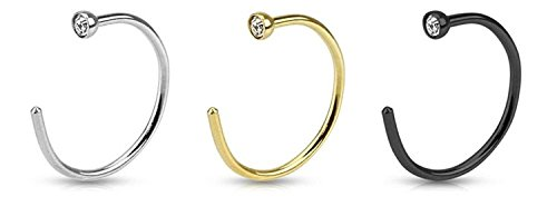 EG GIFTS Gold I.p Plated Black Anodized Titanuim and 316l Surgical Steel Nose Ring with Clear Jeweled - 18 Gauge- 5/16