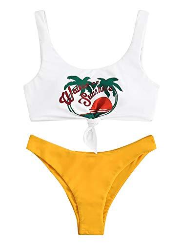 SweatyRocks Women's Cute Swimsuits Scoop Neck Knot Print Bikini Swimwear Set Yellow Small