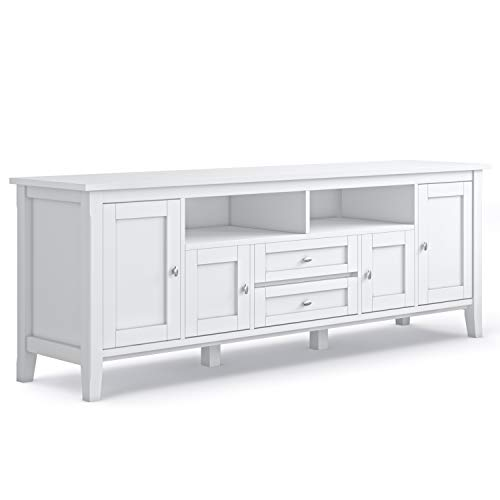 Simpli Home Warm Shaker 72 inch Media TV Stands, White
