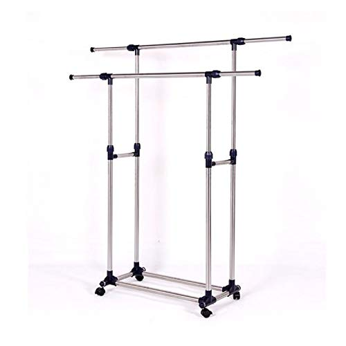 Kimanli Double Rail Adjustable Telescopic Rolling Clothing and Garment Rack Space-Saving Wardrobe Storage Cabinet Chests Organizer Portable
