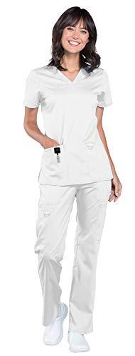 Cherokee Workwear Revolution Women's Medical Uniforms Scrub Set Bundle - WW620 V-Neck Top & WW120 Drawstring Pant & Marc Stevens Badge Reel (White - Small/Medium -