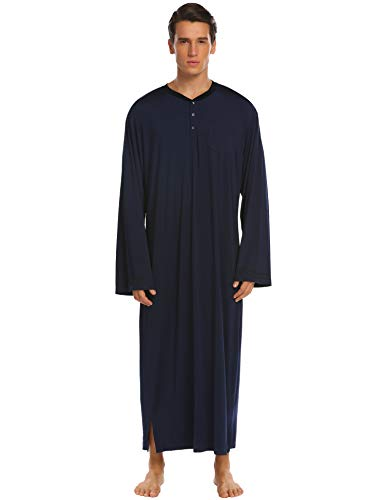 Ekouaer Night Shirt Mens Long Sleeve Loungewear (Navy Blue, Medium) -