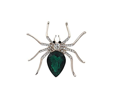 Totoroforet Gold-plating Cool Spider Brooch/ Pin Suits on Lady's Shirt and Suit—Emerald-green - Sterling Silver Bow Brooch