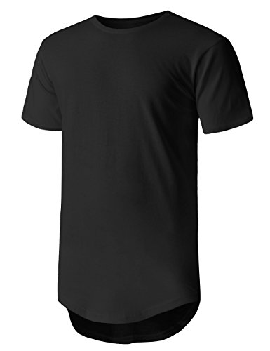 - Hat and Beyond Mens Hipster Basic Long Line Hip Hop Slim Fit T Shirts (Large, 1KS0019_Black)