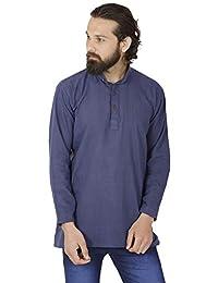 SKAVIJ Men's Tunic Khadi Cotton Kurta Shirt Casual Clothing