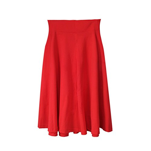 [Chakit* Women's Vintage Stretch High Waist Plain Skater Flared Pleated Long Skirt Dress (Red) (Size] (1970s Tennis Costume)