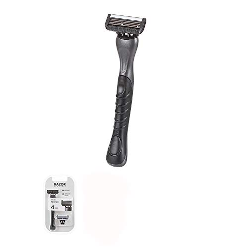 MINISO Men's 4 Power Long Handle Butterfly Open Blade System Razor 4 Edge Safety Razor with Dual Lubrication and Precision Trimmer, Handle and 1 Blade
