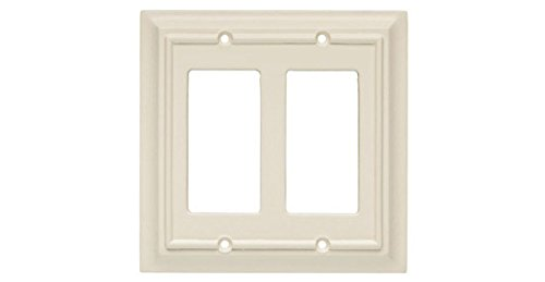 Brainerd 126449 Wood Architectural Double Decorator Wall Plate / Switch Plate / Cover, Light Almond