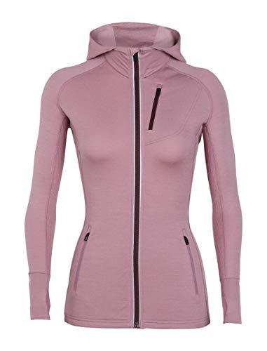 (Icebreaker Merino Women's Quantum Long Sleeve Zip Hoodie, New Zealand Merino Wool, Opal/Velvet, Small)
