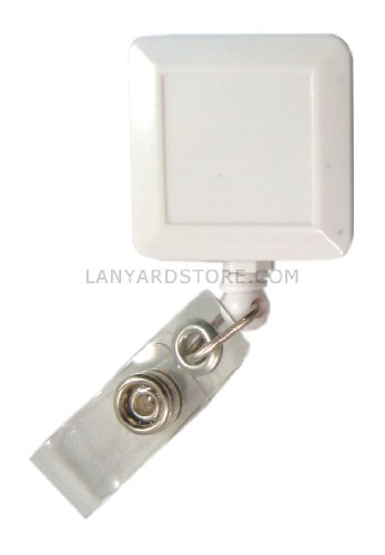 Square Badge Reels in White (Qty. 50)