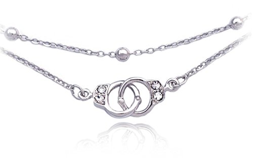 cocojewelry Handcuffs Anklet Ankle Bracelet Bead Chain Foot Jewelry (Clear)