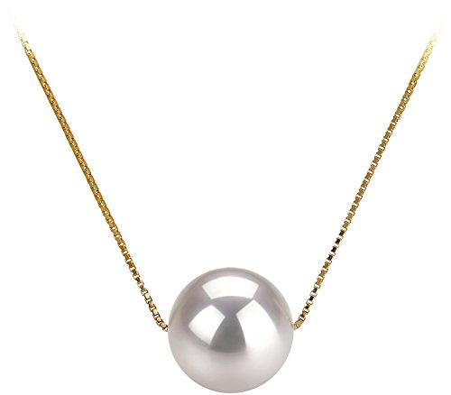 Akoya White Pendant - Kristine White 8-9mm AAA Quality Japanese Akoya 14K Yellow Gold Cultured Pearl Pendant