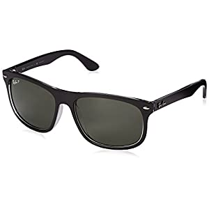 Ray-Ban INJECTED MAN SUNGLASS - TOP MATTE BLACK ON TRANS Frame DARK GREEN POLAR Lenses 59mm Polarized