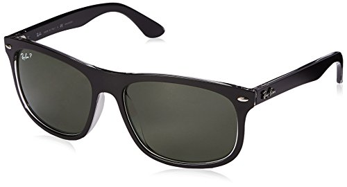 Ray-Ban INJECTED MAN SUNGLASS - TOP MATTE BLACK ON TRANS Frame DARK GREEN POLAR Lenses 59mm Polarized (Ray Eye Ban Glasses Cat)