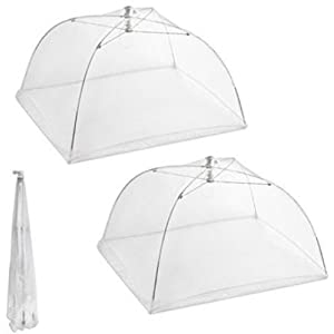 Set of 2 Large Pop Up Mesh Screen Food Cover Tents - Keep Out Flies, Bugs, etc.