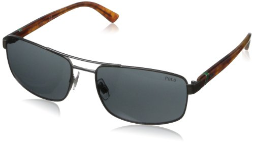 Polo Ralph Lauren Men's Ph3086 Rectangular Sunglasses,Semi Shiny Gunmetal,58 - Lauren Shades Ralph