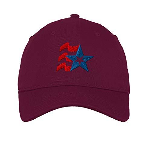 Speedy Pros Low Profile Soft Hat Abstract Embroidery Design Cotton Dad Hat Flat Solid Buckle Burgandy Design Only