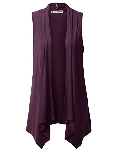URBANCLEO Womens Draped Open Front Sleeveless Cardigan Plum XLarge
