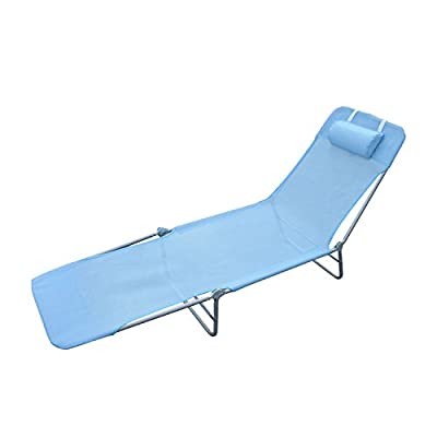 Outsunny Adjustable Reclining Beach Sun Lounge Chair