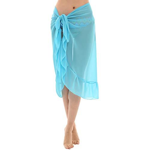 Price comparison product image XLnuln Women Chiffon Sunscreen Shawl Beach Bikini Swimwear Wrap Coverup Skirt Swimsuit Wrap Scarf Shawl Light Blue