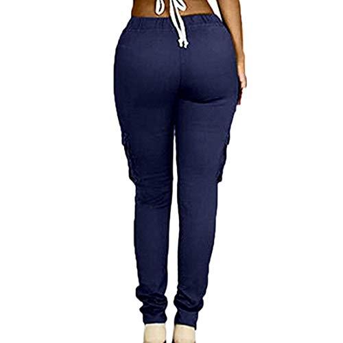 Scuro le cordoncino elastico addosso casuale tratto donne facendo adatto yoga Blu tasca sport pantaloni magre carico slim Aiweijia pTzCdqxwx